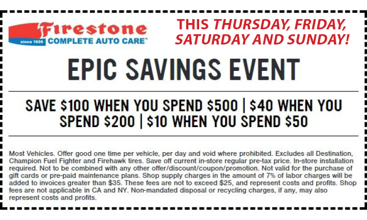 Firestone Hours Sunday >> Shadow Lake Towne Center Firestone Epic Sales Event